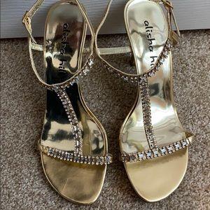 Alisha Hill Gold & Rhinestone Heels
